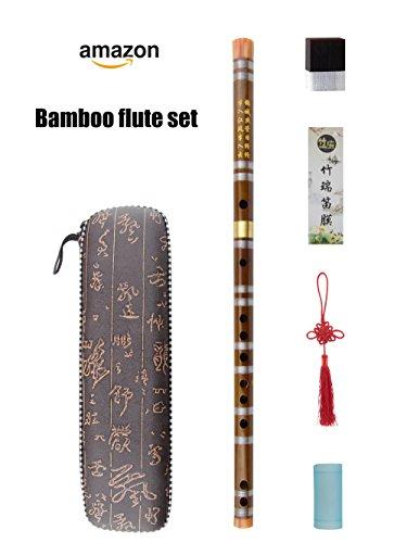 G key Dizi Bitter Bambusflöte für Anfänger mit freier Membrane & Kleber & Protector Set traditionelles chinesisches Instrument (G key/Bitter Bambus)