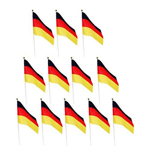 Sharplace 12er Deutschland-Fahne   WM 2018   Stockfahne   Kinder-Fahne BRD   Fähnchen   Deutschland-Flagge - Deutschland