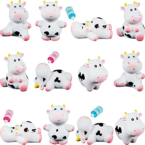 16 Pieces Mini Cow and Baby Bottle Miniature Cow Figurines Resin Cow Cake Toppers Fairy Garden Miniature Cow Cake Decorations Micro Landscape Ornament for Birthday Cake Home Yard Dollhouse Decor