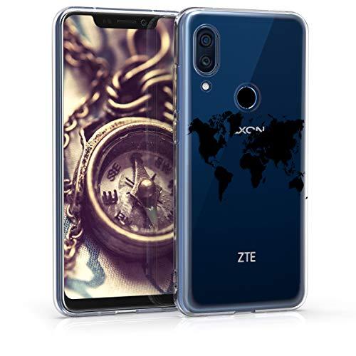kwmobile Hülle kompatibel mit ZTE Axon 9 Pro - Hülle Handy - Handyhülle - Travel Umriss Schwarz Transparent