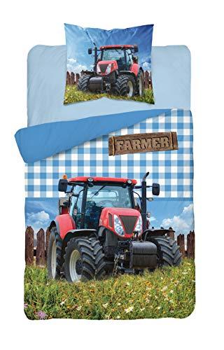 Detex Tractor beddengoedset - dekbedovertrek 140 x 200 cm + kussensloop 70x80 cm 100% katoen