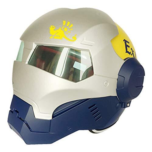 XYL Casco para Motocicleta Careta Completa Iron Man Certificado de D.O.T Motocross Personalidad Casco con máscara Abierta Moto Casco Transformers,Blue,M