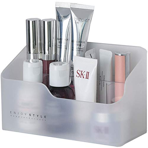 Petit organiseur de maquillage en plastique transparent blanc/transparent