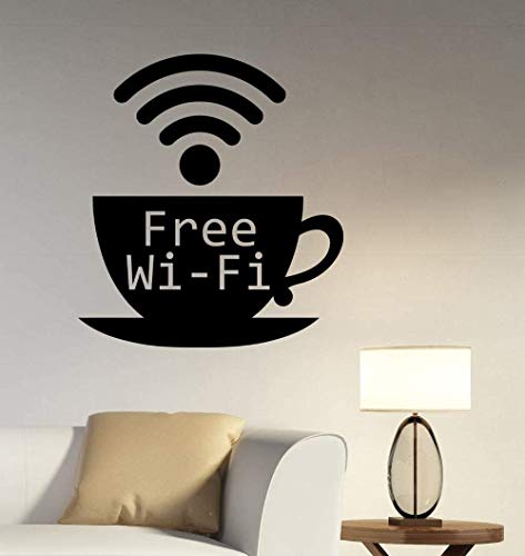 Koffie Cup Patroon Muursticker Gratis Wi Fi Tekenen Muurstickers voor Koffie Shop Windows Decor Verwijderbare DIY muurschildering Interieur 57x62cm