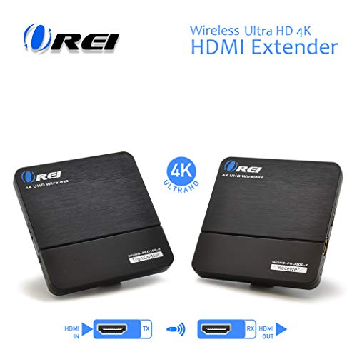 Orei Wireless Pro UltraHD HDMI Extender Transmitter & Receiver Dongle - Up to 4K @ 30Hz - Upto 100 Feet - Perfect for Streaming from Laptop, PC, Cable, Netflix, YouTube, PS4 to HDTV/Projector