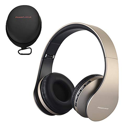 PowerLocus P1 – Auriculares Bluetooth inalambricos de Diadema Cascos Plegables, Casco Bluetooth con Sonido Estéreo con Conexión a Bluetooth Inalámbrico y Audio Cable para Movil, PC, Tablet - Oro