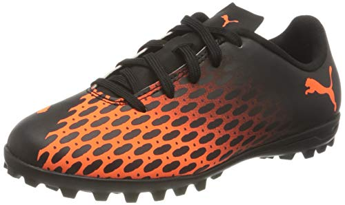 PUMA Spirit III TT Jr, Scarpe da Calcio Unisex-Bambini, Nero Black-Shocking Orange, 29 EU