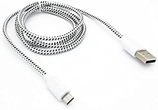White Braided USB Cable Rapid Charger Sync Power Wire Data Transfer Cord Micro-USB for Cricket Samsung Galaxy S7 (SM-G930A) - Cricket Samsung Galaxy Sol - Cricket ZTE Fanfare - Cricket ZTE Grand X