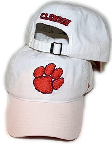 Campus Hats Zephyr White 100% Cotton Unstructured Scholarship Adjustable Hat/Cap - Clemson