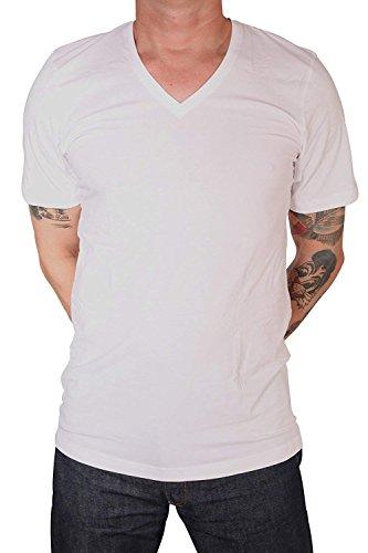 MARVELiS T-Shirt Doppelpack 2 T-Shirts 1/2 Arm Weiß Body Fit V-Ausschnitt (L)