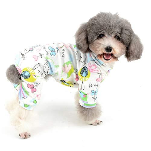 Zunea Kleiner Hunde-Overall mit niedlichem Maus-Blumendruck, weiche Baumwolle, Schlafanzug, Schlafanzug, Schlafanzug, vier Beine, für Haustiere, Katzen, Welpen, Größe L