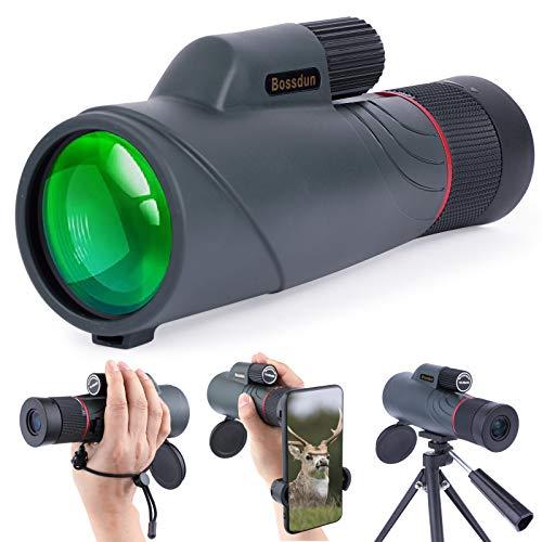 10-20x50 Monocular para Adultos, HD Monocular Telescopio Resistente Al Agua con Soporte para Teléfono Inteligente para Observación de Aves, Excursiones, Senderismo, Caza, Acampada, Viajes