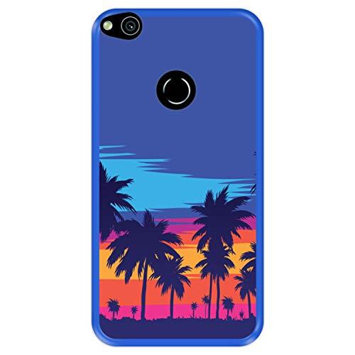 Funda Azul para [ Huawei P8 Lite 2017 - P9 Lite 2017 - Nova Lite ] diseño [ Tarde en la Playa, Palmeras ] Carcasa Silicona Flexible TPU