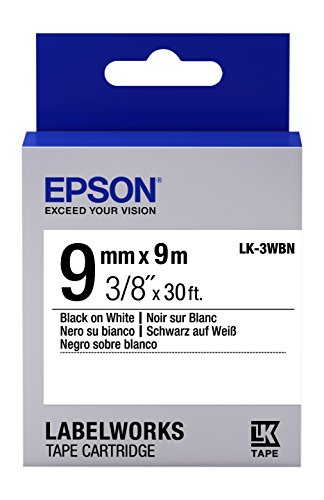 "Epson LabelWorks Standard LK (Replaces LC) Tape Cartridge ~3/8"" Black on White (LK-3WBN) - for use with LabelWorks LW-300, LW-400, LW-600P and LW-700 Label Printers"