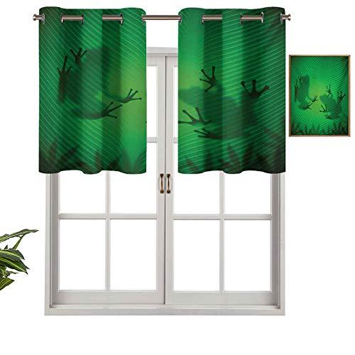 Hiiiman Cortinas cortas, con bloqueo de luz, silueta de rana en la hoja del arbol de platano en tierras tropicales, juego de 1, 132 x 45 cm cortina de ventana para sala de estar