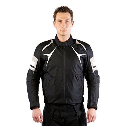Lemoko - Chaqueta de tela para moto, color blanco y negro, talla  S - 3XL