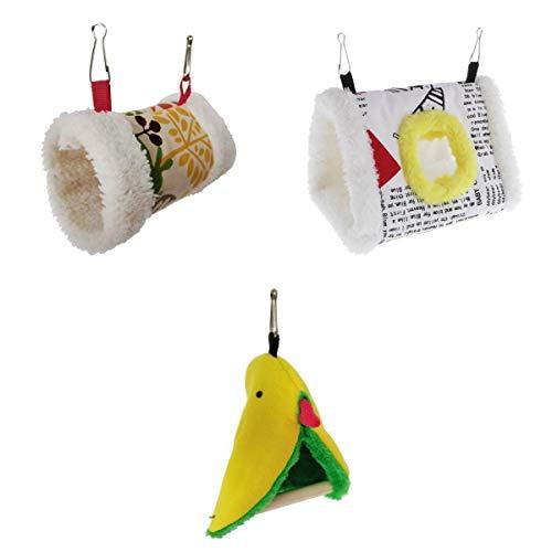 FLAMEER 3pcs Suave Felpa Jaula Colgante Cama Hamaca Túnel Sombrero Tienda para Parrot Finch