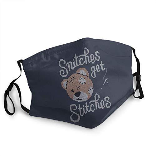 ZSMJ Diseño Snitches Get Stitches Cara Bandana Reutilizable Cómodo Lavable Niños Niños Invierno Caliente Bufanda