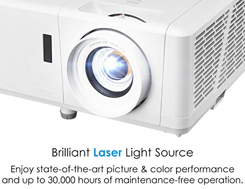 Optoma HZ39HDR Laser Home Theater Projector with HDR | 4K Input | 4000 lumens | Lamp-Free Reliable Operation 30,000 hours | Easy Setup with 1.3X Zoom | Quiet Operation 32dB | Crestron Compatible,White