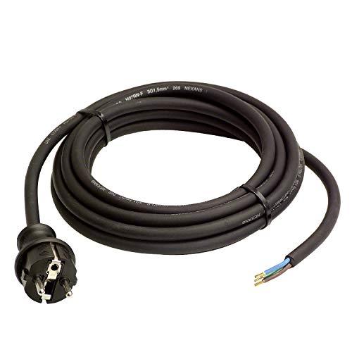 as - Schwabe Gummi-Anschlussleitung – 4,5 m Leitung mit spritzwassergeschütztem Schutzkontaktstecker –– Baustellen & Gewerbe – IP44 – Schwarz I 60379