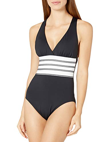 La Blanca Women's Plus Size Multi Strap Cross Back One Piece Swimsuit, Black/White//Zig and Zag, 18W