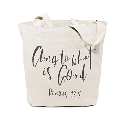 The Cotton & Canvas Co. Cling to What is Good, Romans 12:9 Beach, Shopping and Travel Resusable Shoulder Tote and Religious Bible Verse Handbag
