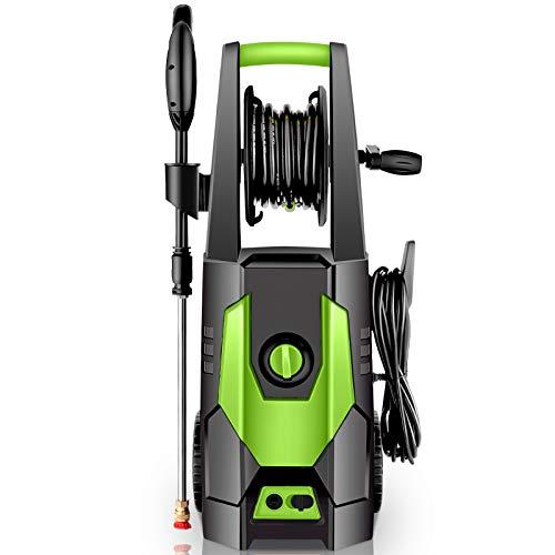 CHAKOR Pressure Washer 3600 PSI, 2.4GPM Power Washer Machine, 1800W High Pressure Cleaner with 4 Adjustable Nozzle, Spray Gun, Hose Reel, Brush (Green)