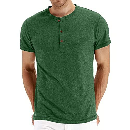 Ykghfd Camisetas casuales de color sólido con cuello en O para hombre que absorbe camisetas transpirables, verde, S