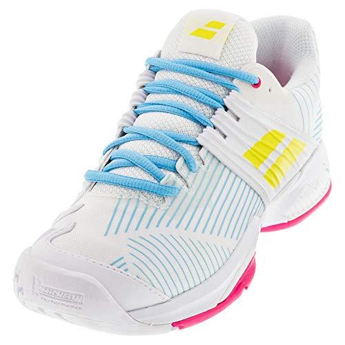Babolat Women's Propulse Fury All Court Tennis Shoes, White/Sulphur Spring (US Size 9)