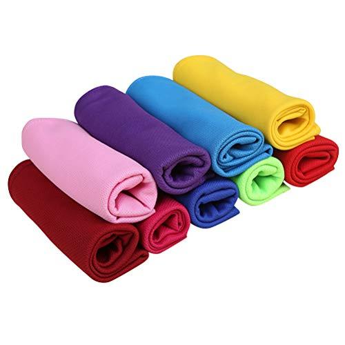 10Pcs Toalla cómoda Toalla deportiva resistente absorbente suave Espesar la tela facial Outdoor Props (Azul cielo + verde claro + Borgoña + naranja + púrpura + rosa + azul oscuro + amarillo + rojo)
