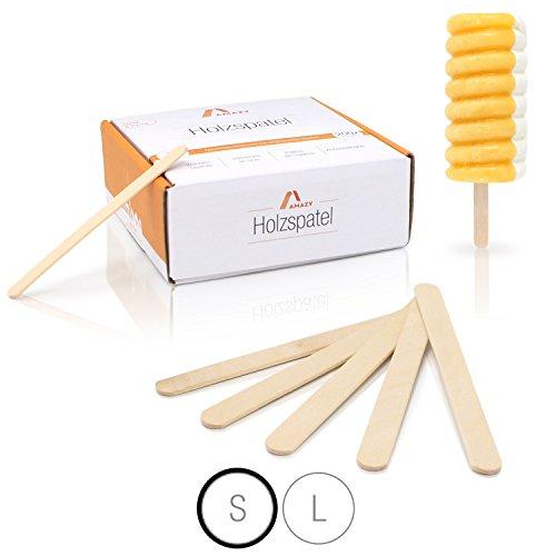 Amazy Palos polo de madera (200 piezas) - Palitos de madera natural ideales para paletas, cera y artesanías (pequeños | 114 x 10 mm)