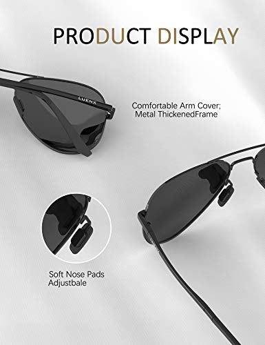 LUENX Aviator Sunglasses for Men Women Polarized – UV 400 Protection with case 60MM