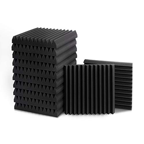 """1"""" X 12"""" X 12"""" Acoustic Foam Panels, Studio Wedge Tiles, Sound Panels wedges Soundproof Sound Insulation Absorbing Home and Office (12 Pack, Black)"""