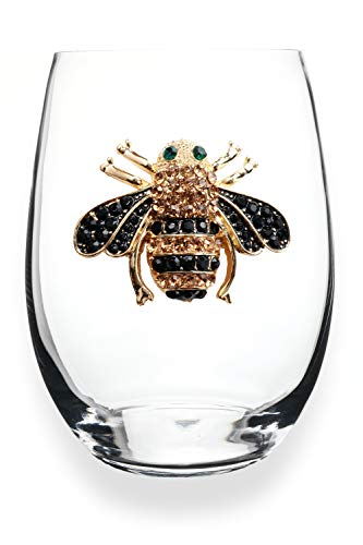 THE QUEENS' JEWELS Bee Jeweled Stemless Wine Glass - Unique Gift for Women, Birthday, Cute, Fun, Not Painted, Decorated, Bling, Bedazzled, Rhinestone