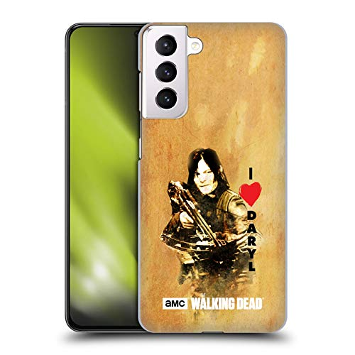 Head Case Designs Offizielle AMC The Walking Dead Daryl Armbrust Typografie Harte Rueckseiten Handyhülle Hülle Huelle kompatibel mit Samsung Galaxy S21+ 5G