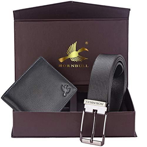 Hornbull Men's Black Wallet and Black Belt Combo 9393