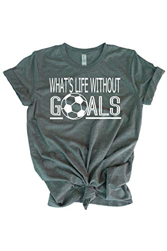 Soccer t-Shirt for Teen Girl- What's Life Without Goals Shirt- Best Gift for Girl Soccer Player Gray