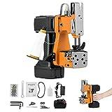 HUKOER Máquina de coser inalámbrica, Costura más gruesa, Corte automático de hilo, Máquina de coser de sacos portátil para bolsas de plástico de papel de arroz de saco (Máquina + batería de 2200 mA*1)