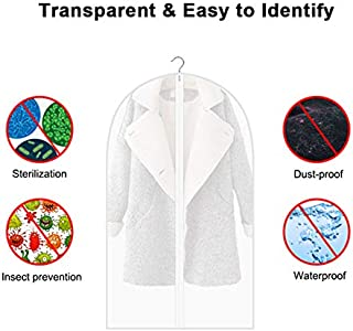 zimo Garment Bag Suit Bag, Dustproof PEVA Long Zip Pockets Protective Film Clothes Covers for Dresses, Shirts, Coats (6 Pack)