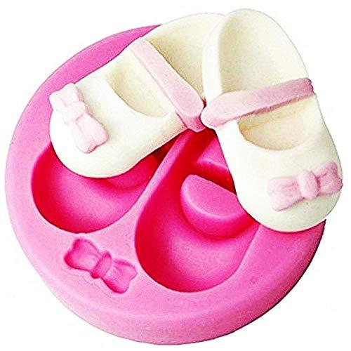 Lovelegis Molde de Silicona para Dos Zapatos para niños y un Lazo pequeño - Idea de Regalo de cumpleaños - moldes de Silicona - Molde para Uso Artesanal