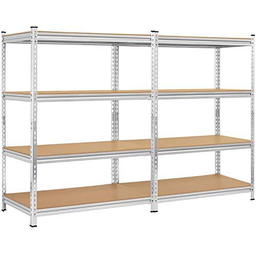 Topeakmart 4-Shelf Heavy Duty Shelving Unit, Metal Storage Shelves Steel Frame Garage Shelf w/Adjustable Shelves for Kitchen and Garage, 705lbs Loading Capacity Per Shelf, 2 Packs