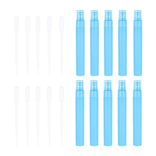 Fenteer 10x Parfum Atomiseur Rechargeable + Ventouses Bouteille Pipette Jet de Parfum 30ML - Bleu