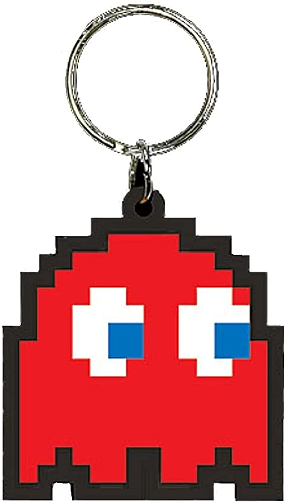 Pyramid Pac-Man Blinky Rubber Keychain Keyring Key Fob
