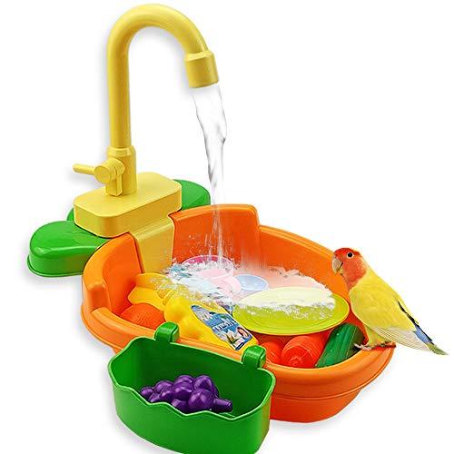 Souarts Vogelspielzeug Automatische Badewanne Papagei Schwimmbad Spielzeug Bad Dusche Wasserspender für Papagei Wellensittich Sittich(Orange,34 × 28 × 29 cm)