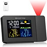SMARTRO SC91 Projection Alarm Clock for Bedrooms with Weather Station, Wireless Indoor Outdoor
