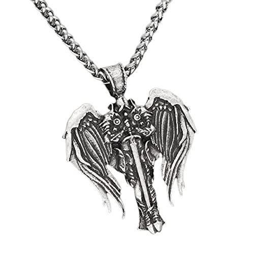 Nordic Viking Odin Warrior Necklace for Men, Hip Hop Odin Wing Necklace Celtic Warrior Sword Necklace for Boys