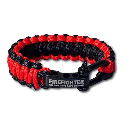 LIFE IS SIMPLE | Paracord Survival Armband | Firefighter | Verstellbarer Verschluss | für Outdoor, Camping, Wandern