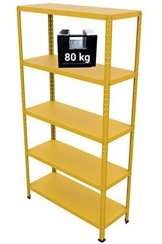 GRIMA Componibili Scaffale Metallo 5 ripiani - 100x40x187h (80KG each, total 400KG) Scaffali in metallico, scaffalature metalliche, acciaio per garage, cucina, libreria, ufficio (Giallo)