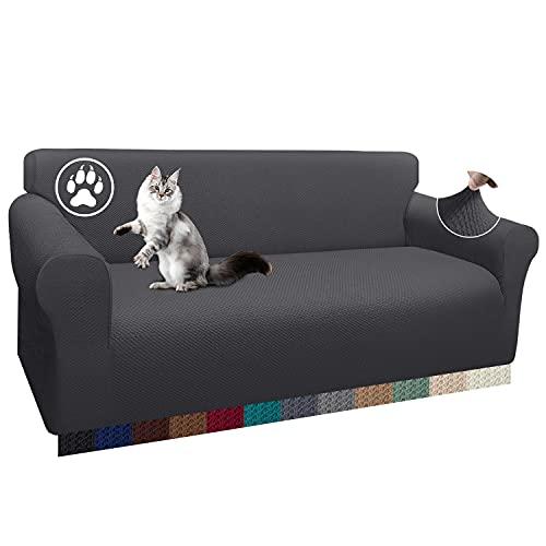 Luxurlife 1 funda gruesa para sofá de 3 plazas, elástica, antideslizante, para salón (3 plazas, gris)
