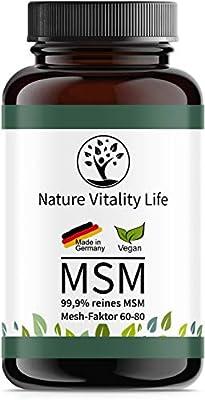 MSM Kapseln hochdosiert - 1600mg MSM je Tagesdosis - Laborgeprüft - 365 vegane Kapseln ohne Zusatzstoffe - 99,9% Methylsulfonylmethan - Hergestellt in Deutschland